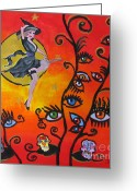 Diana Riukas Greeting Cards - Witching and Watching Greeting Card by Diana Riukas