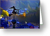 Weathervane Greeting Cards - Witchs Ride Greeting Card by Roberta Bragan