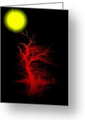 Glowing Moon Greeting Cards - Witchwood Greeting Card by Stefan Kuhn