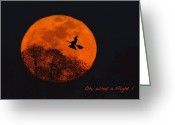 Lunar Greeting Cards - Witchy Moon Greeting Card by William Jobes