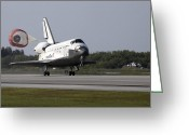 Touchdown Greeting Cards - With Drag Chute Unfurled, Space Shuttle Greeting Card by Stocktrek Images