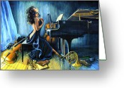 Piano Greeting Cards - With Passion Greeting Card by Hanne Lore Koehler