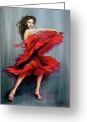 Red Dress Painting Greeting Cards - With Passion Greeting Card by Joan Garcia