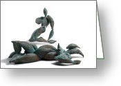 Surrealism Sculpture Greeting Cards - With Seed and Monarchs Hero Greeting Card by Adam Long