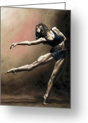 Ballet Dancer Greeting Cards - With Strength and Grace Greeting Card by Richard Young