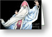 Wizard Drawings Greeting Cards - Wizard Greeting Card by Bill Richards