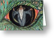 Magic Drawings Greeting Cards - Wizard in Dragons Eye Greeting Card by Karen Musick