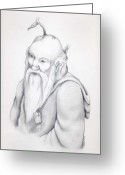 Wizard Drawings Greeting Cards - Wizards Amulets  Greeting Card by Sherri Strikwerda