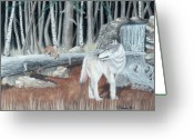 Wolves Pastel Greeting Cards - Wolf and pups Greeting Card by Charles Hubbard