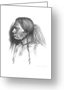 Native Drawings Greeting Cards - Wolf Child Greeting Card by Lee Updike