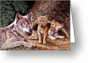 Cubs Painting Greeting Cards - Wolf Den Greeting Card by Richard De Wolfe