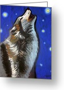 Howl Greeting Cards - Wolf Howl Greeting Card by Genevieve Esson