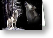 Night Greeting Cards - Wolf  Howling memory Greeting Card by Gina Femrite