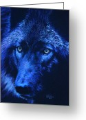 Wolves Pastel Greeting Cards - Wolf in moonlight - version E Greeting Card by John  Palmer