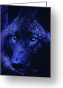 Wolves Pastel Greeting Cards - Wolf in moonlight  version B   Greeting Card by John  Palmer