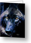 Wolves Pastel Greeting Cards - Wolf in moonlight  version F Greeting Card by John  Palmer