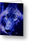 Wolves Pastel Greeting Cards - Wolf in moonlight  version H Greeting Card by John  Palmer