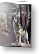 Howling Wolf Greeting Cards - Wolf In the shadow of the Native culture Greeting Card by Gina Femrite