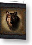 Howling Wolf Greeting Cards - Wolf Lodge Greeting Card by JQ Licensing