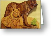 Wildlife Sculpture Greeting Cards - Wolf Mates Greeting Card by Russell Ellingsworth