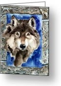 Cave Greeting Cards - Wolf Greeting Card by Nadi Spencer