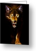 Lovers Digital Art Greeting Cards - Wolf Ready to Attack Greeting Card by Pamela Johnson