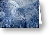 Winter Trees Mixed Media Greeting Cards - Wolf Greeting Card by Svetlana Sewell