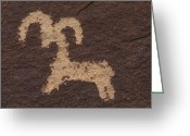 Ute Greeting Cards - Wolfe Ranch Ute Petroglyph Panel Greeting Card by Rich Reid