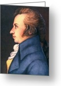 Cravat Greeting Cards - Wolfgang Amadeus Mozart Greeting Card by Granger