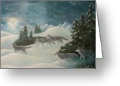Moonrise Greeting Cards - WolfSpirit Greeting Card by Bernadette Wulf