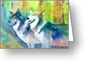 Wolves Mixed Media Greeting Cards - Wolves Greeting Card by Arline Wagner