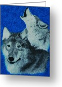 Wolves Pastel Greeting Cards - Wolves Greeting Card by Jessica Hallberg