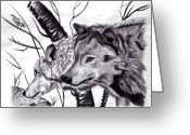 Sea Life Pastels Greeting Cards - Wolves Greeting Card by Mayhem Mediums
