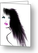 Hairstyles Greeting Cards - Woman 5 Greeting Card by Cheryl Young