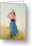 Shoulder Painting Greeting Cards - Woman and Child in a Meadow Greeting Card by Hector Caffieri