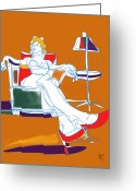 Work Lamp Greeting Cards - Woman and lamp Greeting Card by Russell Pierce
