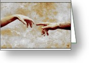 Fingertips Greeting Cards - Woman And Man Touching Greeting Card by Detlev Van Ravenswaay