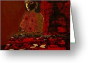 Primitive Mixed Media Greeting Cards - Woman and Red Tapa Greeting Card by Yulonda Rios