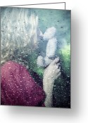 Raining Greeting Cards - Woman And Teddy Greeting Card by Joana Kruse