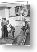 Young Men Greeting Cards - Woman And Two Men On Cruiser Deck, (b&w), Elevated View Greeting Card by George Marks