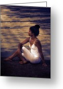 Quay Greeting Cards - Woman At A Lake Greeting Card by Joana Kruse