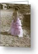 Evening Dress Greeting Cards - Woman At The Beach Greeting Card by Joana Kruse
