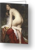 Adolphe Greeting Cards - Woman Bathing Greeting Card by  William Adolphe Bouguereau