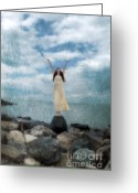Young Teen Greeting Cards - Woman by the Sea with Arms Reaching Up in Praise Greeting Card by Jill Battaglia