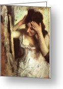Woman Combing Her Hair Greeting Cards - Woman Combing her Hair Before a Mirror Greeting Card by Edgar Degas