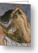 Brushing Greeting Cards - Woman Combing her Hair Greeting Card by Edgar Degas