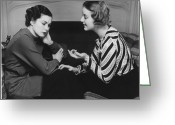 Consoling Greeting Cards - Woman Consoling Friend At Fireplace, (b&w) Greeting Card by George Marks
