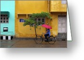 Cycling Greeting Cards - Woman Cycling In Street Greeting Card by Claude Renault