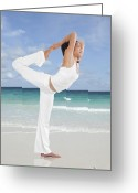 Endurance Greeting Cards - Woman doing yoga on the beach Greeting Card by Setsiri Silapasuwanchai