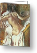 Nude Bath Greeting Cards - Woman drying herself Greeting Card by Edgar Degas